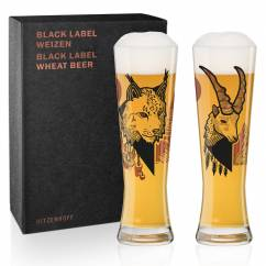 Black Label Wheat Beer Glass Set by Daniel Fatemi (Lynx & Chamois)