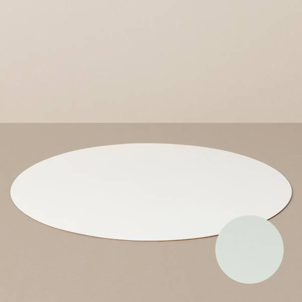 Placemat L, round, in white / mint