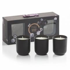 Noir scented candle set of 3, Rosewood Macaron