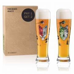 Freibier-Duett Weizenbierglas-Set von Sonja Eikler (Wolfster & Foxster)