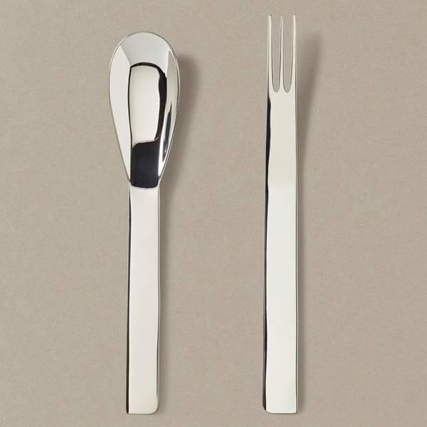 Dessertbesteck-Set kleiner Löffel / kleine Gabel in Silber