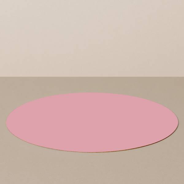 Placemat L, round, in white / pink