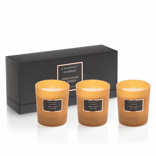 Selection scented candle set of 3, osmanthus & amber