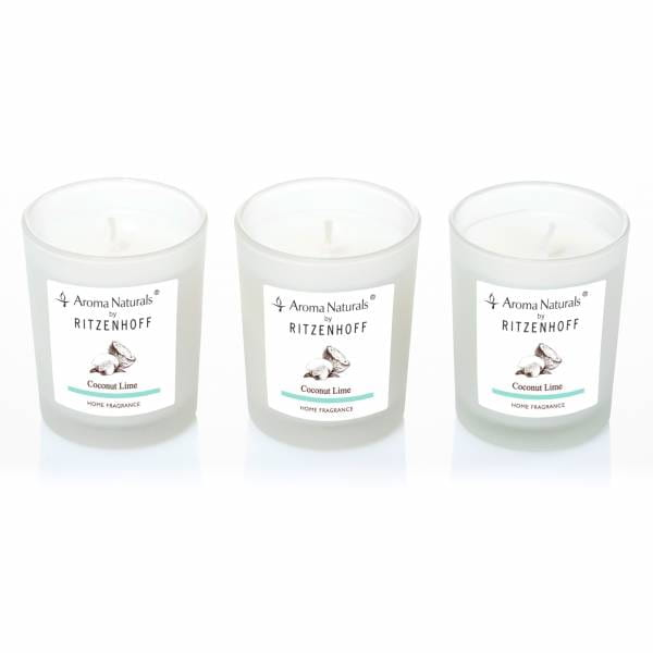 Nature scented candle set of 3, coconut lime