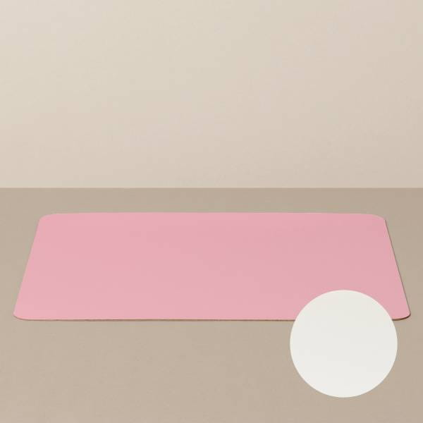 Tray insert / placemat XL, square, in white / pink